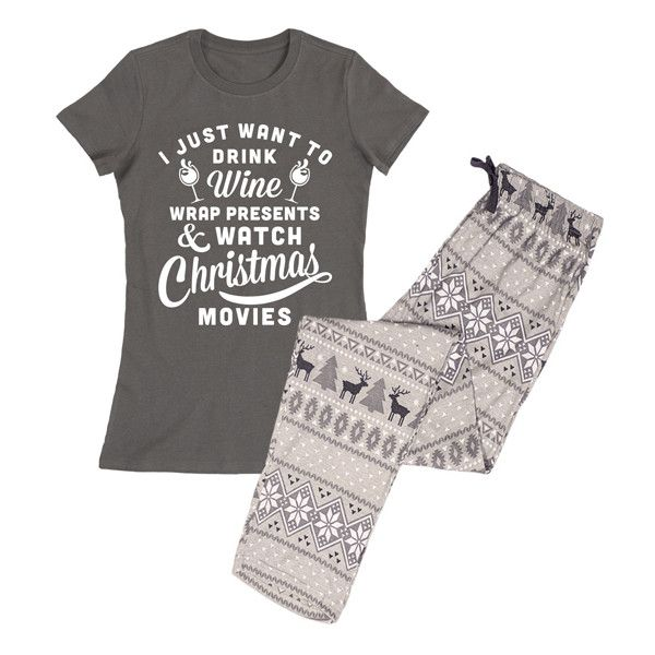 Slumber Party Charcoal 'Wine & Christmas Movies' Pajama Set (72 BRL) ❤ liked on Polyvore featuring intimates, sleepwear, pajamas, plus size, christmas pyjamas, plus size pajamas, christmas pajamas, cotton pjs and plus size cotton pajama sets