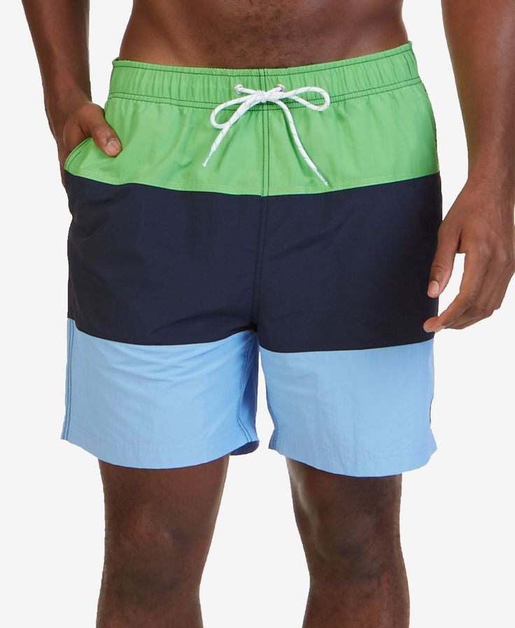 Nautica Men's Colorblocked 7 Swim Trunks - Green S