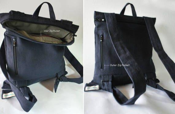 Convertible Stylish backpack Messenger bag Dark blue canvas