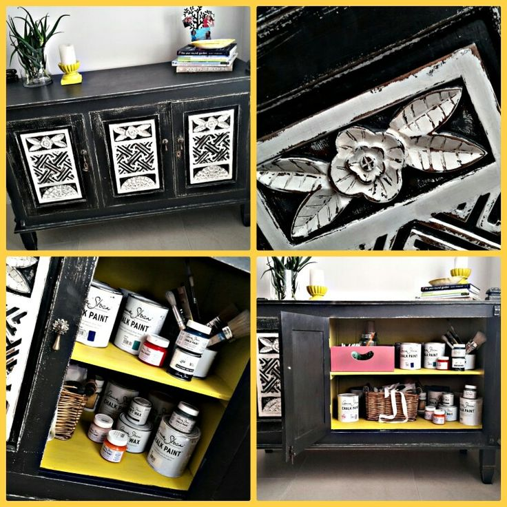 Bold and bright for my home office. Graphite, Old White and clear and black wax.#anniesloanchalkpaint