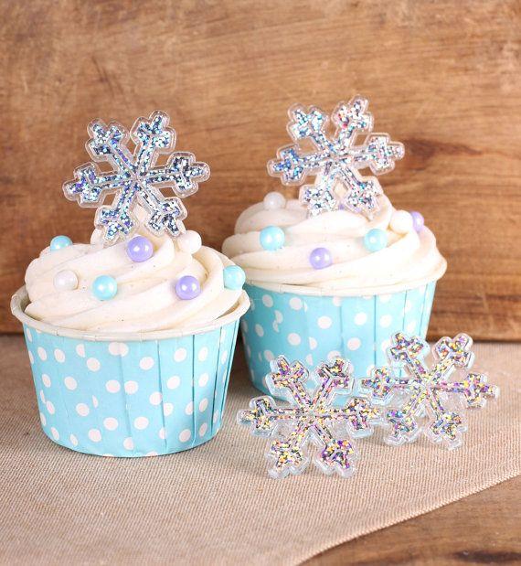 Frozen Cupcakes Snowflake Glitter Snowflake Cupc...