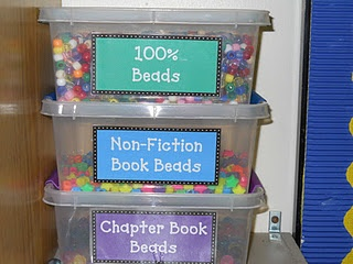 I like the idea of Bead-azzling Readers! They get beads for every 100% on a test, non-fiction book, and chapter book and get to make a bracelet, necklace, or bookmark with those beads at the end of the nine weeks!