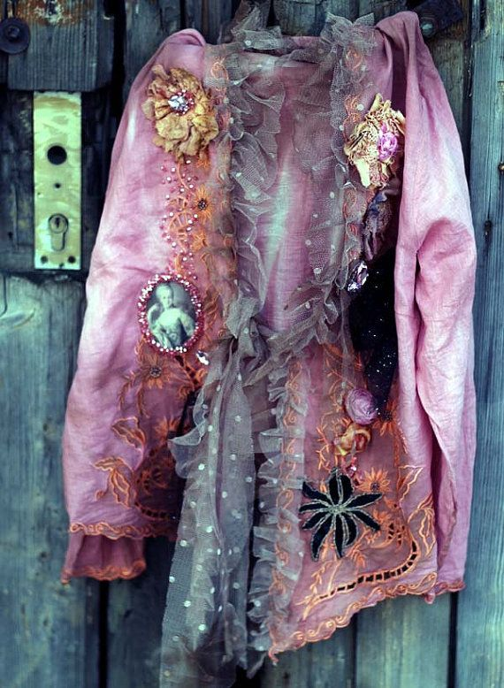 Pink baroque jacket-  extravagant  reworked vintage cotton jacket, wearable art, hand embroidered and beaded details,