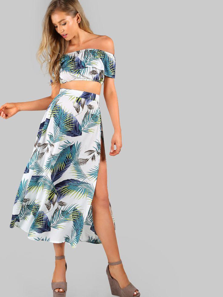 Shop Crop Frill Bardot Top And High Slit Skirt Set online. SheIn offers Crop Frill Bardot Top And High Slit Skirt Set & more to fit your fashionable needs.