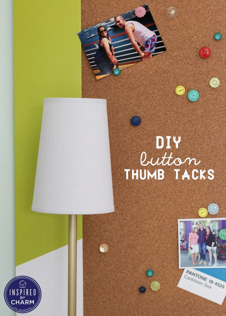 DIY Button Thumb Tacks | Inspired by Charm. These are SUPER easy to make and so adorable. I like Michael's multi-color look, but I've also made them in varying shades of pink!