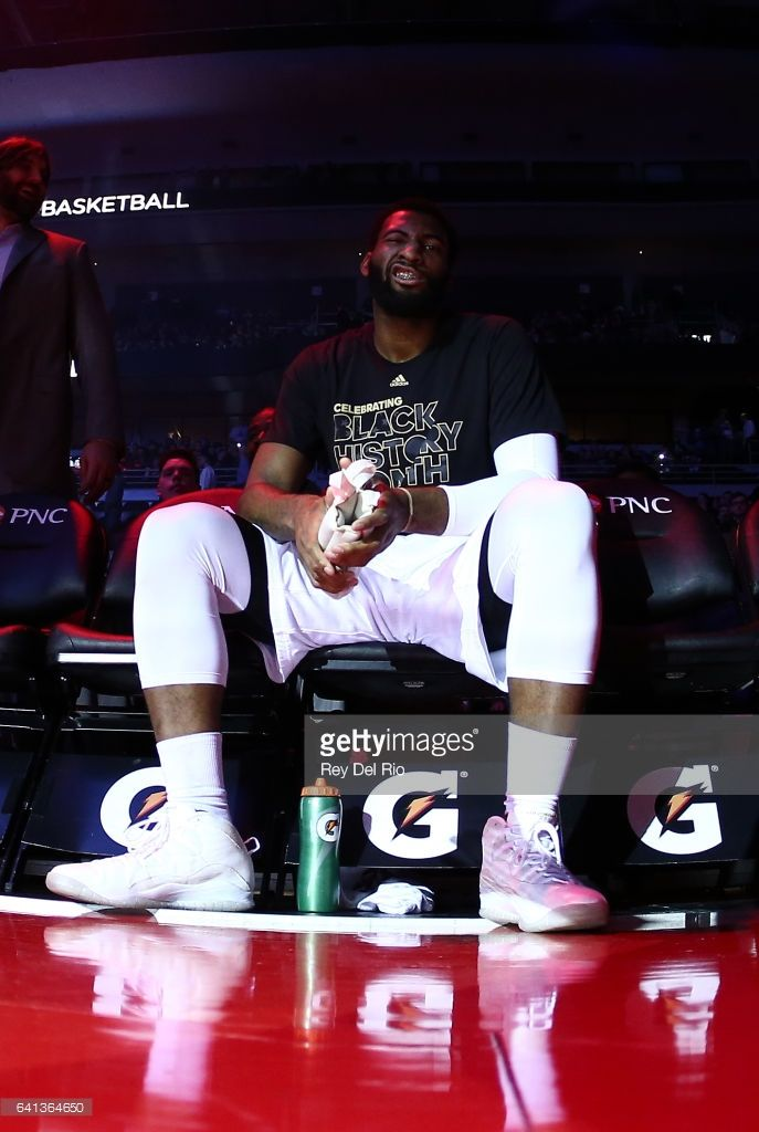 Andre Drummond #0 of the Detroit Pistons during player introductions before the game against the Los Angeles Lakers at the Palace of Auburn Hills on February 8, 2017 in Auburn Hills, Michigan.