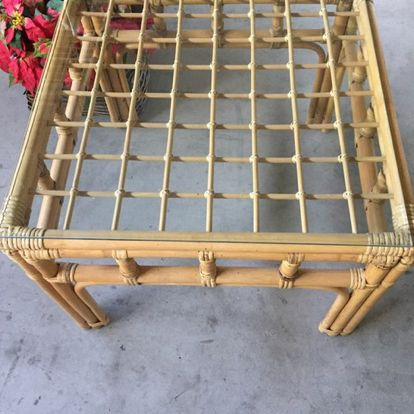 "Glass/bamboo table. Stands 20"" tall. Measures 26 x 26"" wide. Great condition."