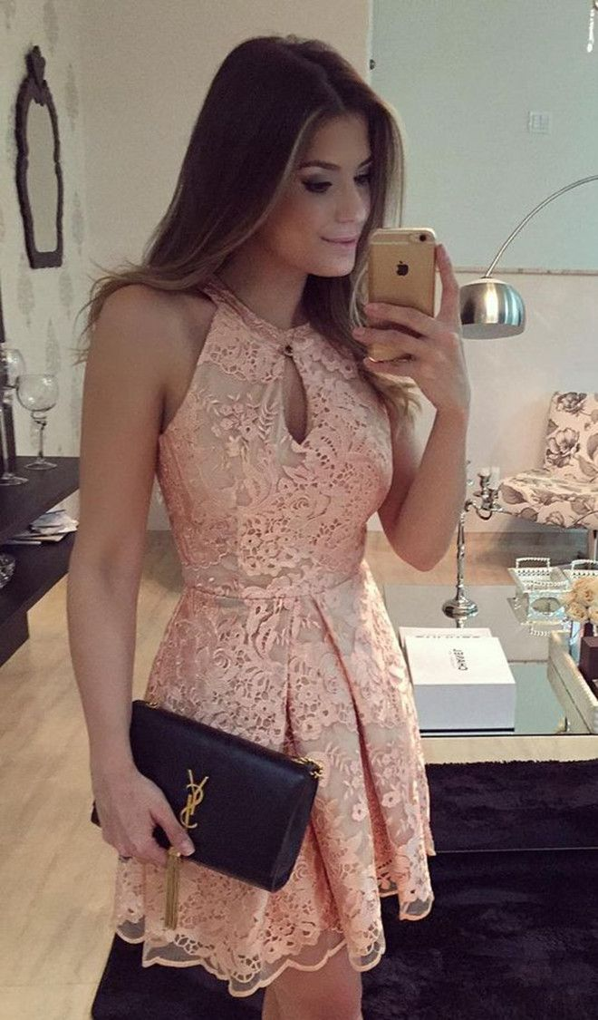 lace homecoming dresses,pink homecoming dresses,keyhole homecoming dresses,cheap homecoming dresses @simpledress2480