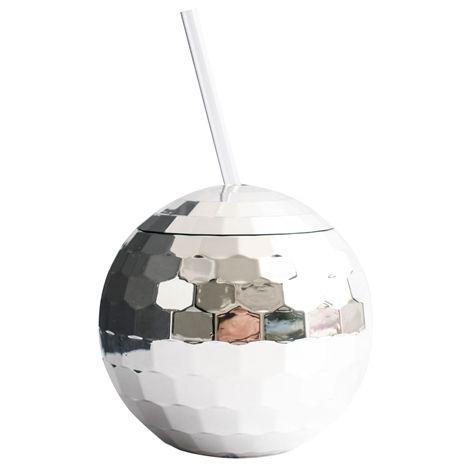 Krus DISCO sølv. 60 cl. Krus i plast med sugerør.  Finnes også som regnbuefarget.