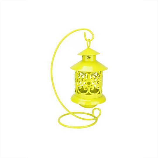 "8.75"" Shiny Yellow Candle Holder Mini Lantern with Hanger"