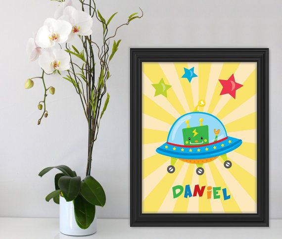 Personalized Robot Print Robot Art Colorful Wall Art by Suselis