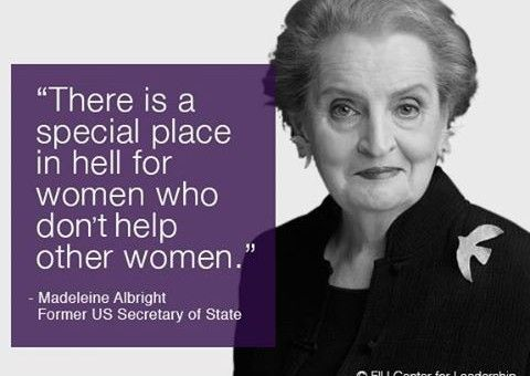 madeleine-albright-quote  She was in New Hampshire on 02/06/16.  She used her famous quote after she spoke.  This is true.