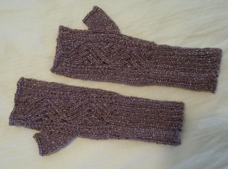 Fingerless mitts made for a dear friend in 2012. The yarn IS sparkly!