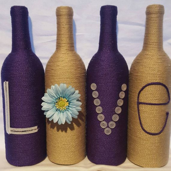 Check out this item in my Etsy shop https://www.etsy.com/listing/275414540/decorated-wine-bottles-set-of-4-love