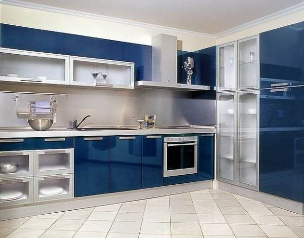 Aluminum Glass Frame System With Striking Glossy Kitchen Cabinets.