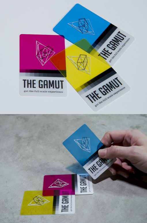 Colorful Transparent Card Design THE GAMUT represents the full scale experience: print to web, 2D to 3D, CMYK to RGB. As certified color lovers, we wanted to create a business card that reflected playfulness, interaction and the vibrancy found in the basic color palettes. Printed on transparent plastic, these CMYK colored cards can be overlapped to create a whole new spectrum… the RGB! Print + web.