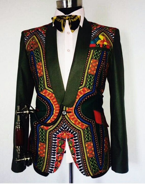 etsy Dashiki Mens Jacket with waist coat, African dashiki suit, dashiki for men, African Clothing, Mens Tailored Jacket, African high fashion