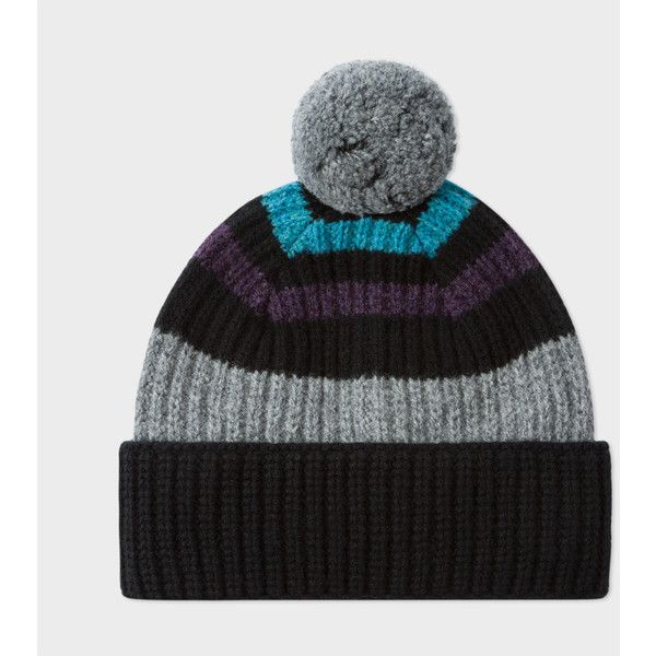 Men's Black Striped Lambswool Bobble Hat (€84) ❤ liked on Polyvore featuring men's fashion, men's accessories, men's hats, black, mens bobble hats and mens hats