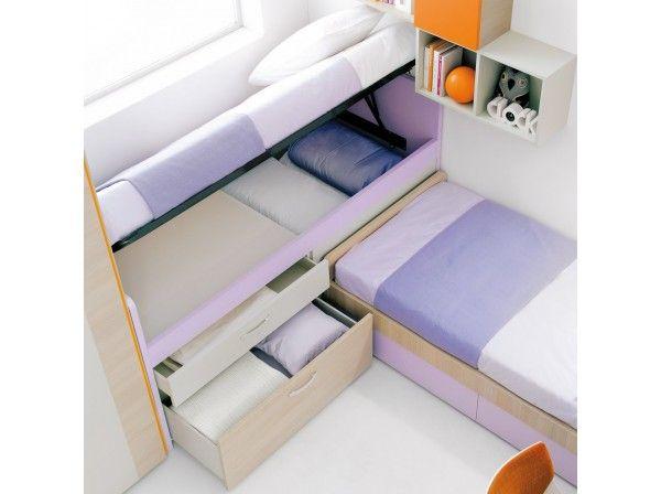 Letto Lobby Corner con cassetto e cassettone, rete alzabile con contenitore. Ideale per le camerette più piccole.