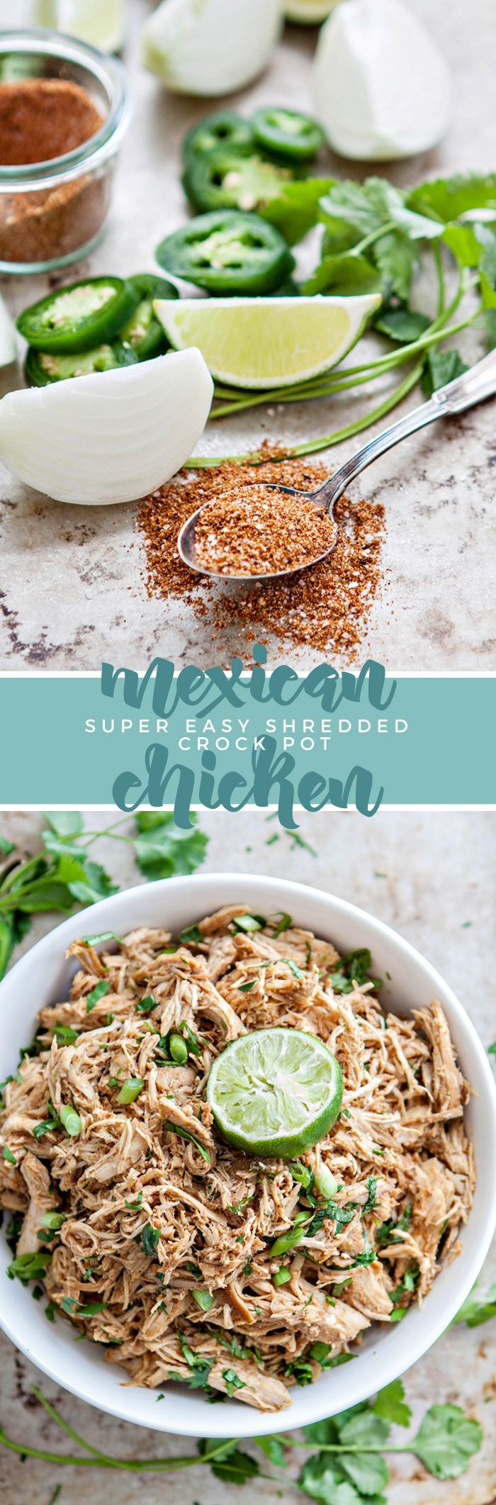 Crock Pot Mexican Chicken is the perfect shredded chicken recipe for your next Mexican recipe. Packed with flavor and super tender thanks to hours in the crock pot, this recipe is sure to please!