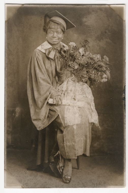 C1930 Photo African American Woman Graduate with Bouqet of Flowers | eBay