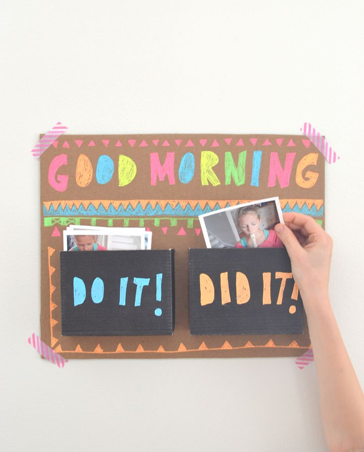 DIY good morning chart // use photos to teach your kids that they are in command of their own day