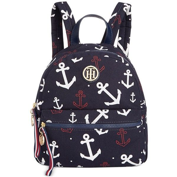 Tommy Hilfiger Anchor Small Dome Backpack ($98) ❤ liked on Polyvore featuring bags, backpacks, anchor bag, blue bag, knapsack bag, tommy hilfiger bags and anchor backpack