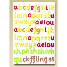 Contains 73 magnetic pieces: two alphabet sets, two sets of vowels and eleven digraphs (as shown).