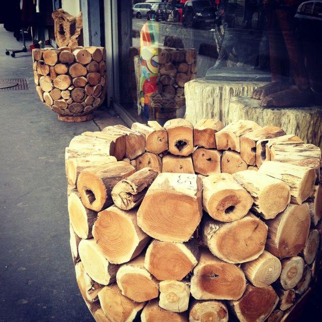 Parisian flea market find: Natural cut timber planter box.