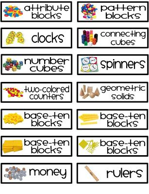 Here's a set of labels for organizing math manipulatives.