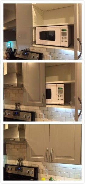 Custom microwave cabinet built with IKEA cabinets. SEKTION does not have a microwave-sized cabinet on its own.
