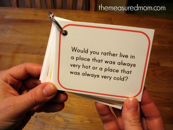 Would You Rather questions for kids.  Great for long car trips!  FREE printable here