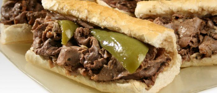 Italian Beef Sandwiches (and Chicago hot dogs) at Portillo's in Chicago, IL