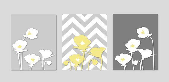 Poppy Flowers with Chevron Zig Zag Stripes -  Modern Wall Art Prints- Yellow and Gray Nursery -  11x14 via Etsy