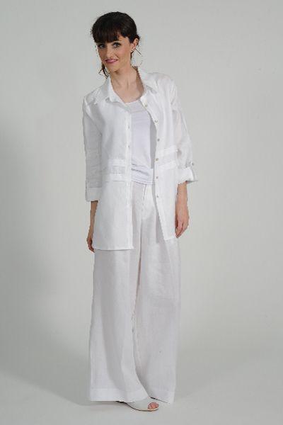Yoshi linen pant, knit Singlet, Prego linen shirt, Primo leather shoe