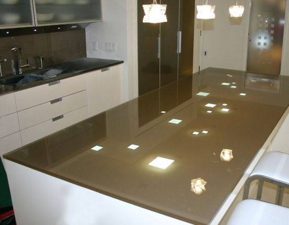 Contemporary Backpainted Glass Countertop And Backsplash For Sophisticated  Look Of Your Kitchen.