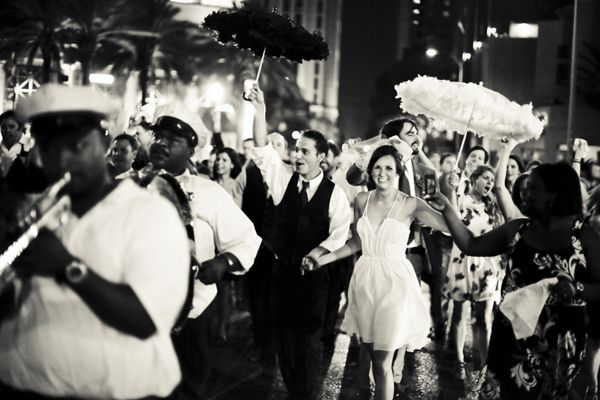 My perfect wedding;  A New Orleans Second Line Parade through the historic french quarter.