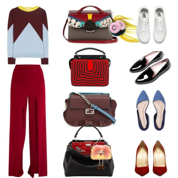 Красные брюки моей мечты by shkolashopinga on Polyvore featuring мода, Marni, Vans, Everlane and Fendi