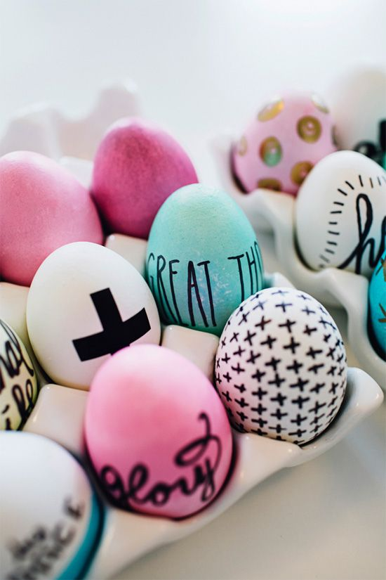 Easter eggs decorated with Sharpies -- look so cool! And super easy too.