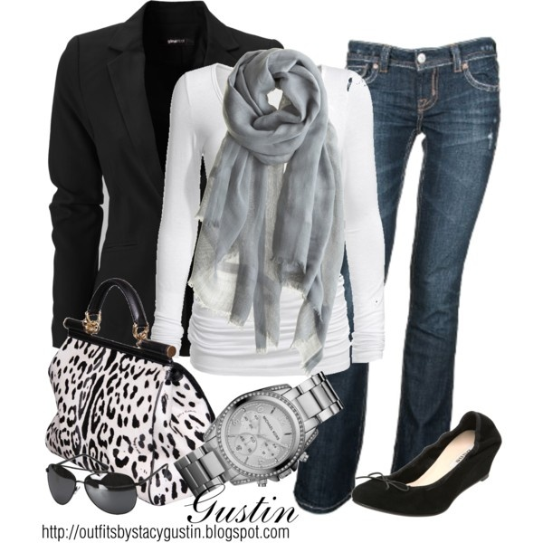 black and white animal print, created by stacy-gustin on Polyvore: Outfits, White Animal, Casual Chic, Style, Clothing, Black And White, Black White, Animal Prints, Bags