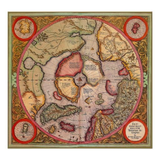 Ver 1 000 bilder om old world maps p pinterestplansch antique old world map arctic north pole 1595 poster gumiabroncs Gallery