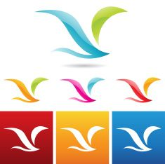 glossy abstract bird icons vector art illustration