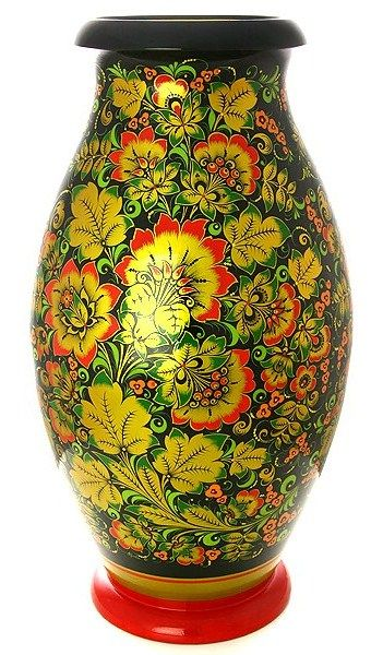 A wooden vase decorated with folk Khokhloma painting from Russia. #Russian #folk #art #painting