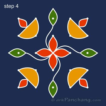 5x5 Dot Rangoli Step 4