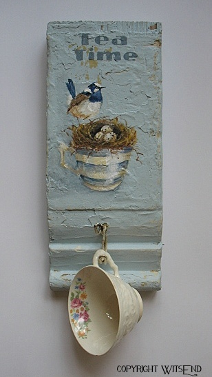 Gorgeous bird, nest and teacup painted on an old piece of plinth by Wits End.