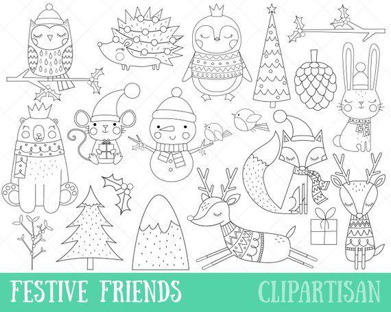 Christmas Animals Clipart Festive Friends Digital Stamps Etsy In 2021 Digital Stamps Christmas Digital Stamps Christmas Line Art
