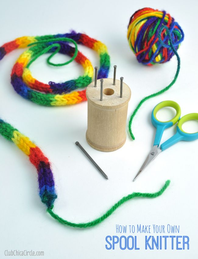 Spool knitting: easy DIY with a wooden spool and nails. Also includes handy instructions for casting on and off and how to spool knit. #spool #Knitting #CreatewithKids