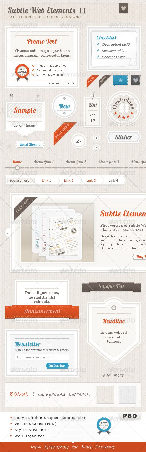 Subtle web elements design