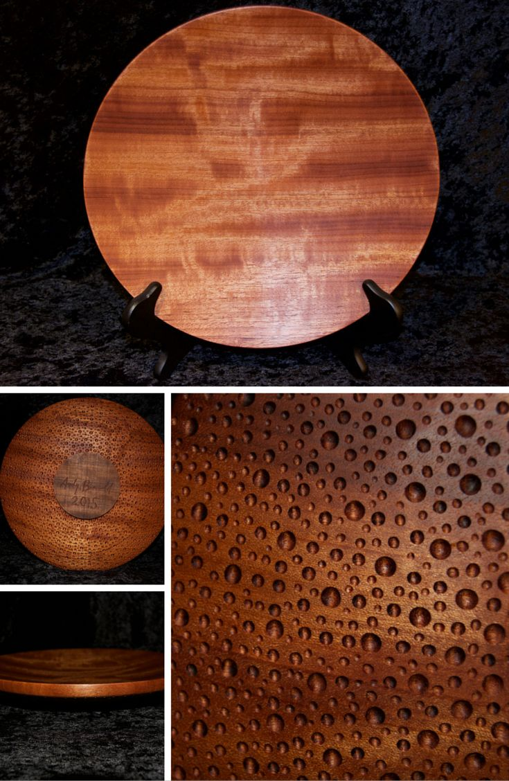 """Makore Platter. The beautiful """"block-mottle"""" figure of this wood platter shifts and shimmers in the light depending on the angle you look at it. The underside contains thousands of small organic dimples. 11"""" diameter x 2"""" tall."""
