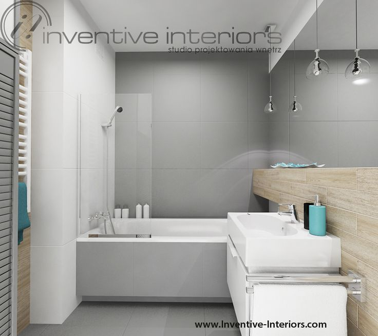 Projekt łazienki Inventive Interiors - szare płytki z jasnym drewnem